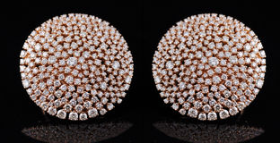 Diamond earings with reflection Stock Images