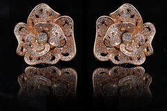 Diamond earings with reflection Royalty Free Stock Images