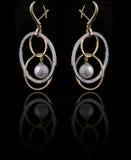 Diamond earings with reflection Stock Photos