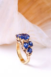 sapphire ring with shell Royalty Free Stock Photography