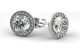 Diamond Earrings Foto de Stock Royalty Free