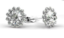 Diamond Earrings Royalty-vrije Stock Foto's