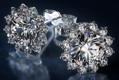 Diamond Earrings Stock Photography