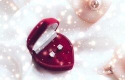 Free Diamond Earrings In A Heart Shaped Jewellery Gift Box, Love Present For Christmas, New Years Eve, Valentines Day And Winter Royalty Free Stock Image - 169054586