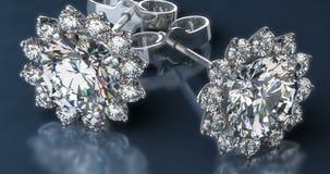 Diamond Earrings precioso no fundo azul ilustração do vetor
