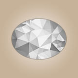 Diamond ellipse shape. Grayscale color abstract polygonal vector illustration isolated on beige background Stock Image