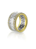 Diamond emerald cut channel ring Royalty Free Stock Images