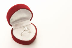 Diamond Engagement In Heart Shaped Box Stock Photography