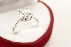 Diamond Engagement In Heart Shaped Box Stock Photo