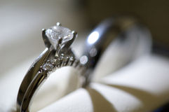 Diamond Engagement Ring. A macro shot of a diamond engagement ring stock photography