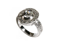 Diamond engagement ring. Engagement ring with diamonds set in eighteen carat white gold Royalty Free Stock Image