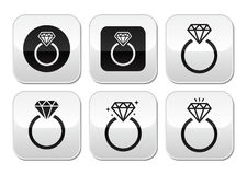 Diamond engagement ring  buttons set Stock Images