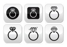 Diamond engagement ring buttons set vector illustration