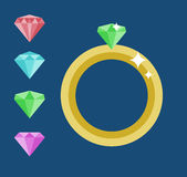 Diamond Engagement Ring Or de bague à diamant Mariage Diamond Ring illustration libre de droits