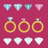 Diamond engagement ring. Diamond ring gold. Wedding diamond ring Stock Photo