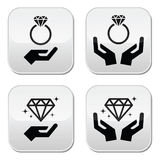 Diamond engagement ring with hands buttons royalty free illustration