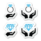 Diamond engagement ring with hands icon vector illustration