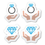 Diamond engagement ring with hands icon stock illustration