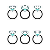 Diamond engagement ring icons with crystals. Vector Illustration. Black circle with shiny brilliant stone isolated on white backgr Stock Photography