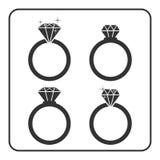 Diamond engagement ring icons set 1 Stock Images