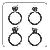 Diamond engagement ring icons set 5 Royalty Free Stock Photography