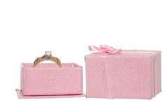 Diamond engagement ring in a pink jewellery box Stock Photos