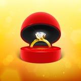 Diamond Engagement Ring in scatola Immagine Stock Libera da Diritti