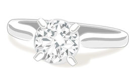 Diamond engagement ring vector Royalty Free Stock Photography