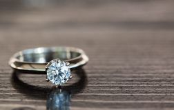 Diamond Ring. Diamond Engagement Ring. Wedding Jewelry Ring. Six Prong Gold Diamond Ring royalty free stock photo