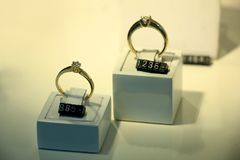 Diamond engagement rings. In a jeweler shop display Royalty Free Stock Image