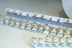Diamond engagement rings Stock Photos