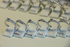 Diamond engagement rings. In a shop display Stock Photos