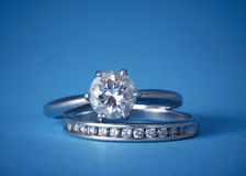 Diamond engagement and wedding rings Stock Image