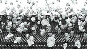 Diamond fall on the black grille. Stock Photos