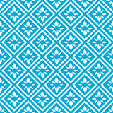 Diamond Floral Seamless Pattern. Seamless white diamond floral tile pattern on a blue background vector illustration