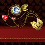 Diamond flower and gold ornaments Stock Photo