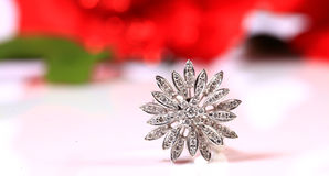 Diamond flower ring Royalty Free Stock Photo