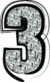 Diamond Font Number 3 Stockfotos