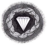 Diamond is formed under great pressure. Diamond formed under pressure is shown with facets in the earth, surrounded by rock, leaves, dirt and grass Vector Illustration