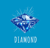 Diamond in front view. Vector illustration Royalty Free Stock Photography