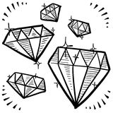 Diamond gem sketches Royalty Free Stock Photo