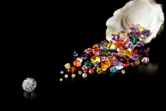 Diamond And Gems From Oyster Stock Images