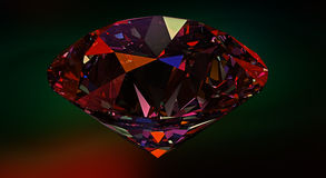 Diamond,gemstone or crystal reflecting light on red background Stock Photo