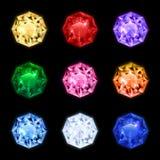 Diamond Gemstone Icon Set realistico illustrazione di stock
