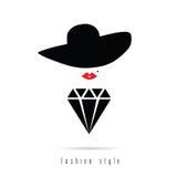 Diamond girl icon fashion style illustration Royalty Free Stock Photo