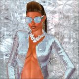 Diamond Girl with sunglasses and ponytail. Diamond sunglasses, silver jacket, necklace, ponytail hairstyle and tan abs all come together against an abstract Stock Photography