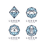 Diamond Glass Logo Set Royalty Free Stock Photos