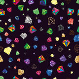 Diamond glitter color shape seamless pattern. Illustration design drawing diamond shape color bright graphic seamless pattern graphic dark color background Stock Photo