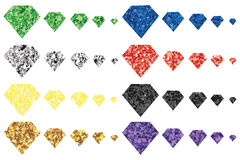 Diamond glitter color shape set Stock Photo