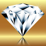 Diamond on a gold background Stock Photography